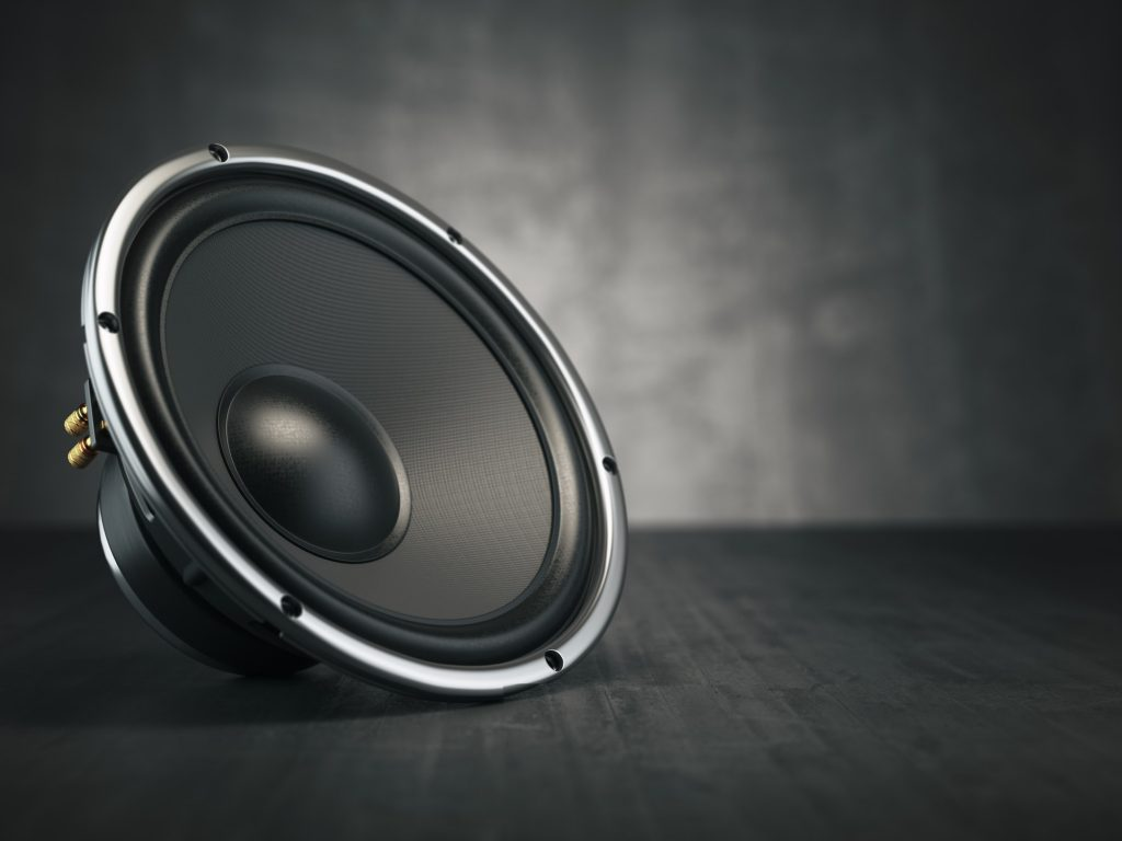 Loudspeaker. Multimedia acoustic sound speaker on black backgro